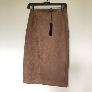 BCBG Faux Suede Pencil Skirt